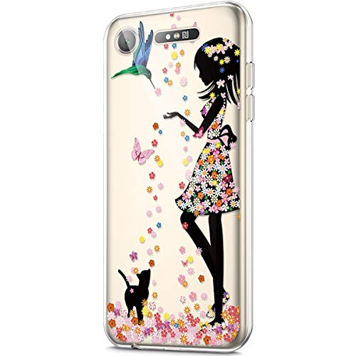 ikasus Case for Sony Xperia XZ1,Crystal Clear Art Panited Design Soft Flexible TPU Ultra-Thin Transparent Rubber Gel TPU Protective Case Cover for Sony Xperia XZ1 Silicone Case,Flower Girls Cat