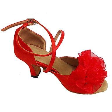 Da Ballo Tacco Latino Dancing Con Personalizzabile Scarpe Donna Toe Shoe Rosso Open Fiore dIq1qCwx