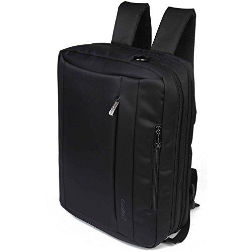 Multifuncional mochila para portátil, bolso, Cross Body bolsa de hombro para el hombre Viajes de negocios, ordenador portátil - Color Negra Negro-2