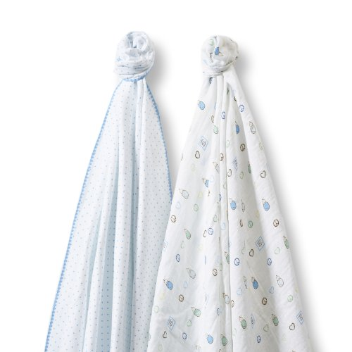 SwaddleDesigns SwaddleDuo, Set of 2 Swaddling Blankets, Cotton Marquisette + Premium Cotton Flannel, Blue Classic Peace Love Duo (Label Flannel)