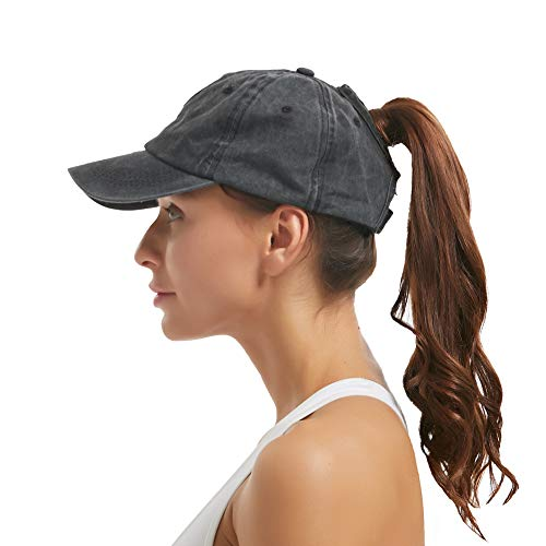 (Leotruny Women Washed Cotton High Ponytail Baseball Cap (C01-Black) )