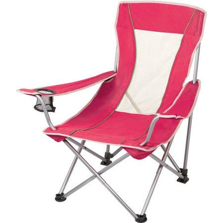 (Ozark Trail Mesh Sling Chair in Pink, Durable Steel Frame and Metal Arms, Polyester Seat, Foldable Design for Easy Storage and Transport, Perfect for Camping and other Outdoor Activities)