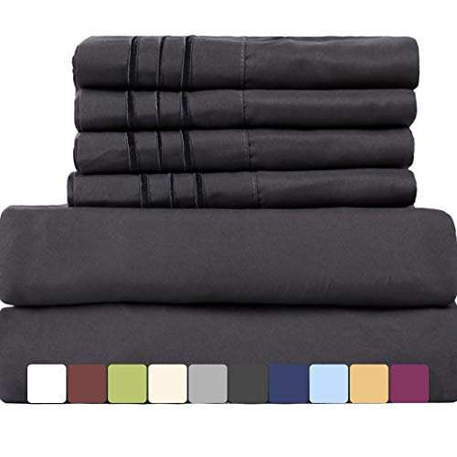 EASELAND 6-Pieces 1800 Thread Count Microfiber Bed bed-sheet Set-Wrinkle & Fade Resistant,Deep Pocket,Hypoallergenic Bedding Set,Queen,Dark Grey