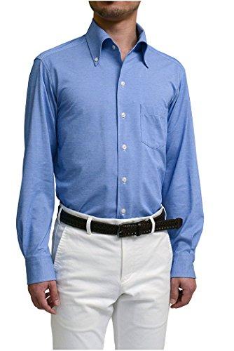 等々堤防添付[オジエ] ozie【ビズポロ?ニットシャツ】【ワイシャツ?カッターシャツ】長袖?細身スリムタイトフィット?クールマックス?イージーケア?イタリアンカラー?ボタンダウン ブルー青