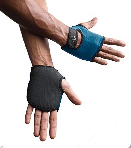 YogaPaws Elite Padded Yoga Gloves for Women and Men, Non Slip Cushion Grip, for Hot Yoga, Vinyasa, Pilates, Barre, SUP, Travel, and Sweaty Hands, Pacific Blue, Size 2