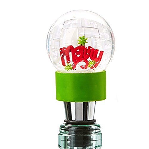 Holiday Cheer Bottle Stopper Snow Snowglobe MERRY 80433-20-B Twos Company ()