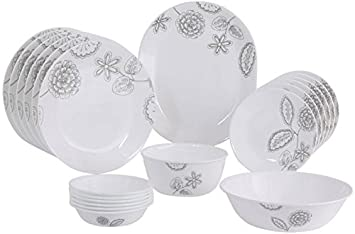Corelle Reminisce VS Glass Dinner Set, 21-Pieces, Multicolour