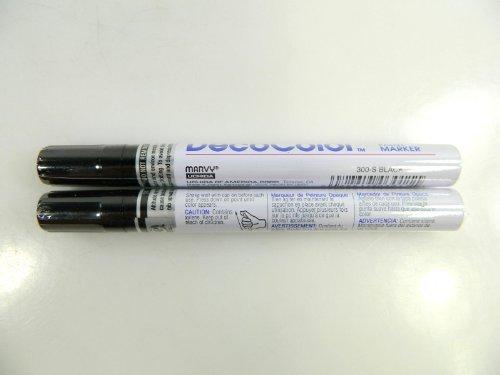 Two (2) Deco Color Marvy Uchida Broad Line Opaque Paint Marker Black by Decocolor -