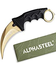 AlphaSteel Fixed Raptor Claw Knife, Survival of the Fittest - 7 Inch Fixed Blade Alpha Gear for Tactical, Camping, Art, Gardening, and Outdoor.