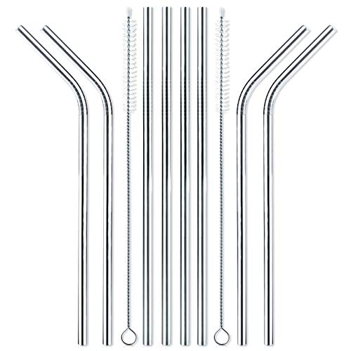 Set of 8 Stainless Steel Drinking Metal Straws 8.5 Inches Reusable with 2 Cleaning Brushes for 16 18 20 24 oz Tumbler Rambler Cup Bottle and Coffee Mug