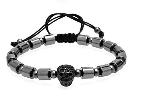 Paris Martin Distinctive Adjustable Beaded Bracelet with Black Skull and Hematite Cylinder Handmade ()