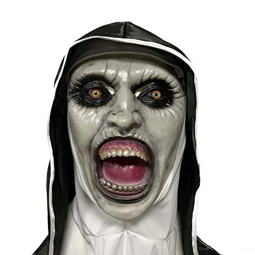 ZhangHD Nun Mask Cospaly Costume Horror Scary Full Head Latex Mask Halloween Party Props (c)