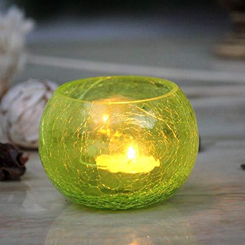 Karguzzari Crackle Glass Candle Holder Votive T Light Holder Home Décor Lighting Gift Tlight (VOT- 3)