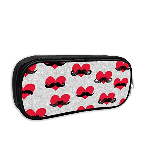 (Small Scale) Mustache Hearts - Valentine's Day Fabric_483 Pencil Case Big Capacity Storage Oxford Cloth BagPouch Holder for Middle High School Office College Girl Adult Large StorageBlue