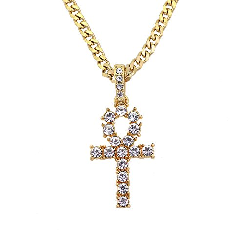 LoveBIG Gold Tone Egyptian Ankh Crystal Cross Pendant 30 Inches Stainless Steel Cuban Chain