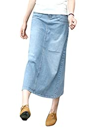 Skirt BL Womens Blue Stretch Back Split Long Pencil A Line Maxi Jean Denim Skirt