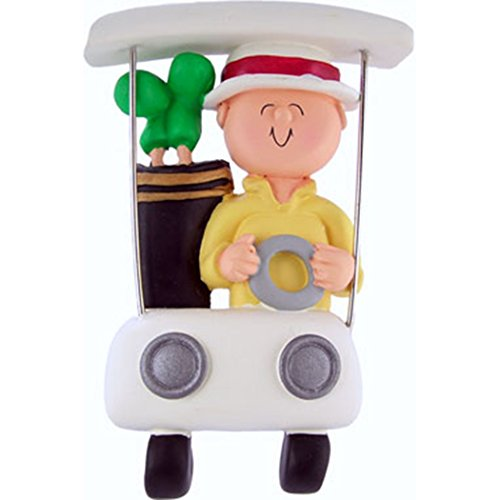 Personalized Golfer in Cart Christmas Tree Ornament 2019 - Classy Player Man in White Golf Car Red Bag of Clubs Ball Profession Member Hobby Caddy Amateurs - Free Customization ()