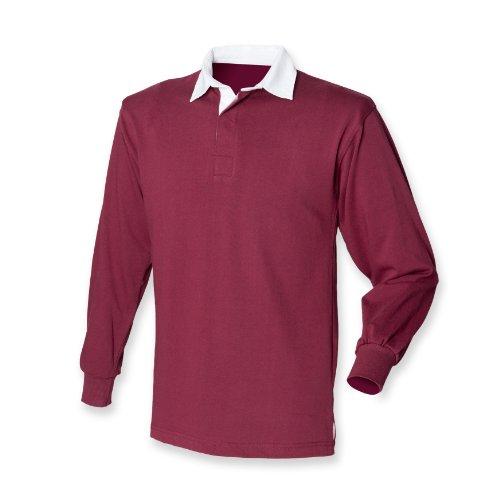 Front Row Langarm Rugby-Shirt Burgund XL