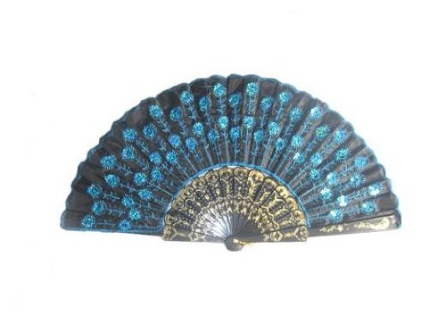 Peacock Pattern Sequin Fabric Hand Fan Decorative Fashionable (New Blue)  by Klicnow