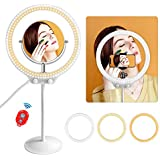 MOUNTDOG 10' Desktop LED Ring Light with Makeup Mirror,Phone Holder,Soft Tube Stand,Dimming 3 Lighting Modes Camera Ring Make Up Light for YouTube,Facebook,Living Stream,Self-Portrait Shooting