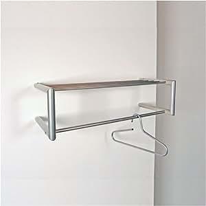 Estructura de pared con balda y barra para perchas (niquelada)