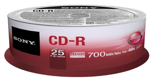 Sony CD-R 700MB/80min (1-48X) 25 pack spindle 700MB 25CDQ80SP