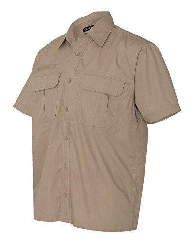 - DRI Duck Men's 4463 Short Sleeve Utility Ripstop Button Down Shirt 2 Front Pockets (X-Large, Rope)
