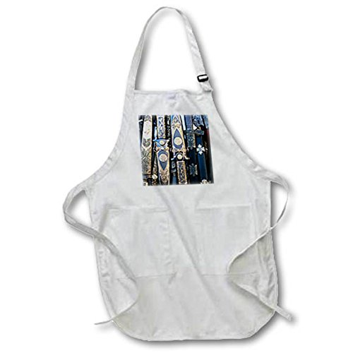 3dRose Alexis Photography - Objects Cold Steel - Cold steel arms in a pile, black and yellow metal scabbards - BLACK Full Length Apron with Pockets 22w x 30l (apr_271890_4) by 3dRose