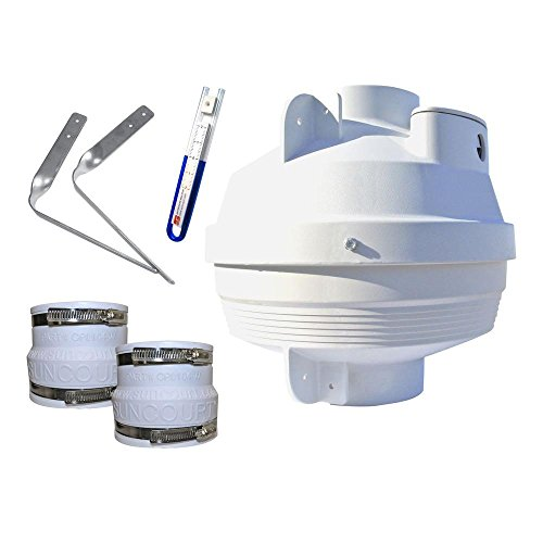 Suncourt Radon Fan Mitigation Kit, Centrax Inline Centrifugal Fan with 4 inch to 4 inch Rubber Couplers, Indoor and Outdoor Installation