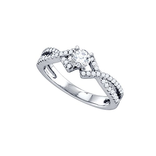 Ring Gold Diamond 14kt Brilliant (14kt White Gold Womens Round Diamond Solitaire Twist Bridal Wedding Engagement Ring 1/2 Cttw)