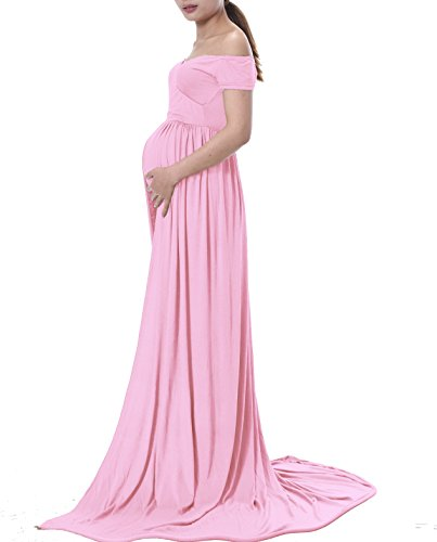 Ruici Maternity Split Front Photography Gown Cotton Maxi Photos Shoot Dress (M, 77 Pink)