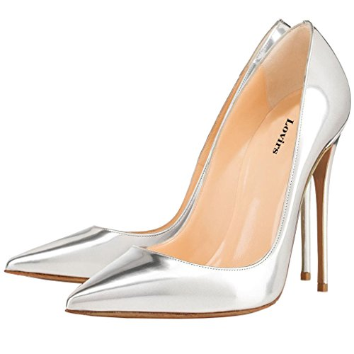 High Slip Patent Stiletto Pumps Shoes Wedding on Pointed Toe Party Lovirs Basic Womens Heel Silver wXRA6Atq