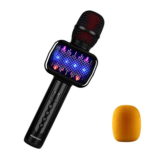 MOSOTECH 2019 Updated Bluetooth Karaoke Microphone, Speaker, Player, Recorder, Voice Changer 4-in-1 Wireless Karaoke Kids Mic with Dynamic LED Light for Home/Stage/Party