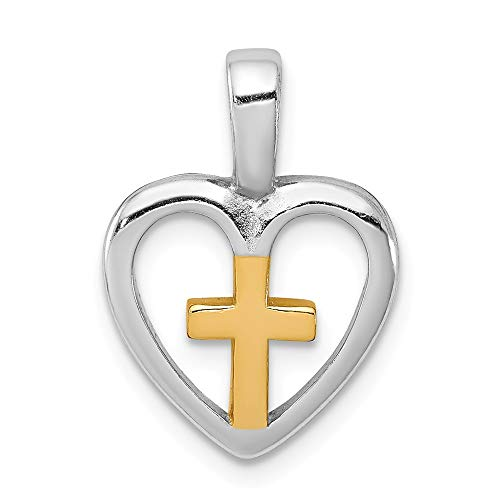 Mia Diamonds 925 Sterling Silver Vermeil Cross Heart Pendant (21mm x 15mm) - Vermeil Platinum Diamond Pendant