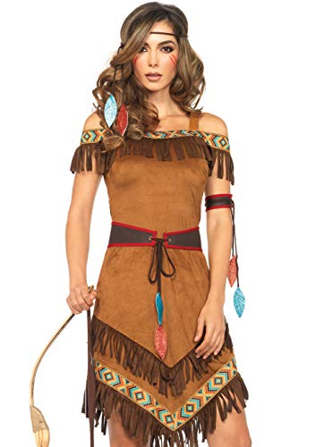 Pocahantas Halloween Costume - Leg Avenue Women's Native Princess, Brown,