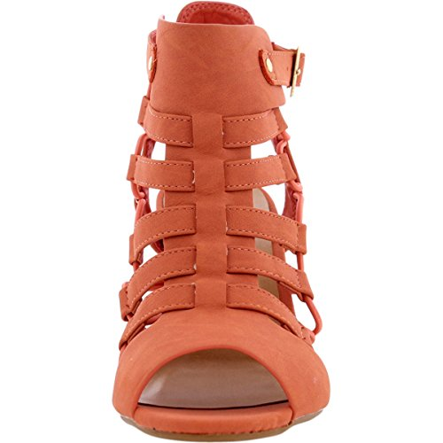 4260f1bfe909 low-cost City Classified - Women s Side Elastic Corn Heel Gladiator Heels -  Salmon