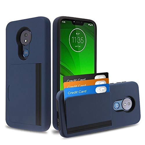 Bemz Pocket Series Compatible with Moto G7 Power, Moto G7 Supra Slim Wallet Dual Layer Hybrid Case with 3 Card Holder Hidden Storage Compartment and Atom Cloth - Dark Navy Blue from Bemz Depot