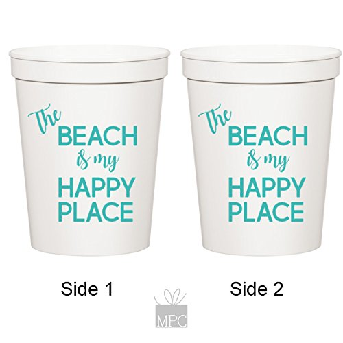 The Beach is My Happy Place, Beach Vacation, Plastic Stadium Cups (10 cups)