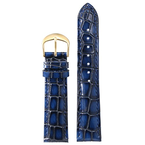 22mm Blue Exotic Unique Premium Watch Bands Replacements Genuine Cowhide Leather Heavy Crocodile Embossed Pattern with Gold Buckle