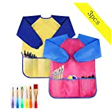 2pcs Children's Art Apron Children's Art Workwear with Waterproof Long Sleeves 3 Pockets, 2-6 Years, Pink and Yellow M Code for Painting Baking Feeding (Including Oil Brush)
