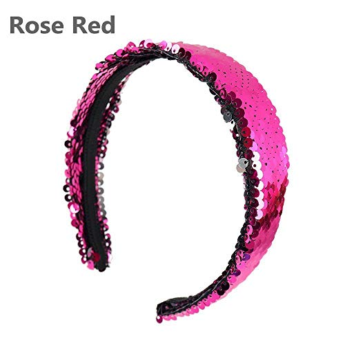 Glittering Women Headband Birthday Party Sequins Head Hoop Hair Bands (Size - Rose Red) - Galleria Antique Rose