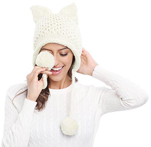 Bellady Winter Cute Cat Ears Knit Hat Ear Flap Crochet Beanie Hat,White