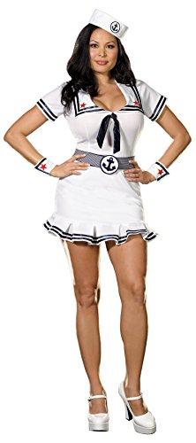 Dreamgirl Women's Sailor Costume, White/Navy, 3X/4X -