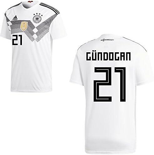 Adidas Camiseta de la selección alemana de fútbol, primera equipación, modelo del mundial de 2018, con nombre de jugador, para adulto y niño, Gündogan, 176: Amazon.es: Deportes y aire libre