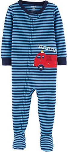 Carter's Baby Boys' Cotton Zip-Up Sleep N Play (5T, Firetruck/Navy Blue)