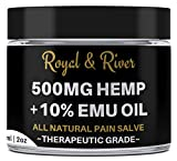 Hemp Pain Cream Salve REAL STRENGTH=REAL RESULTS - 500mg Hemp Extract and 10% Emu Oil -Relieves Inflammation, Muscle, Joint, Knee, Neck and Back, Nerves, and Arthritis Pain. 2oz