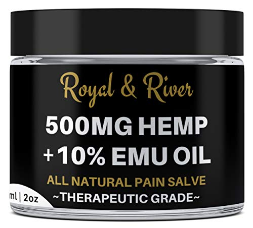 Hemp Pain Cream Salve - 500mg Hemp Extract and 10% Emu Oil -Relieves Inflammation, Muscle, Joint, Knee, Nerves, and Arthritis Pain. 2oz (Pure Emu Oil Cream)