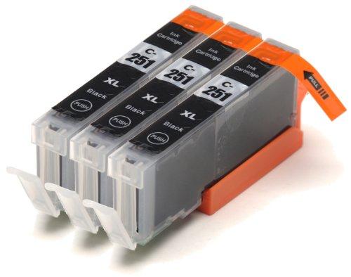 3 Pack Compatible Canon PGI-250 , CLI-251, Canon 251, Canon 250 3 Small Black for use with Canon PIXMA iP7220, PIXMA MG5420, PIXMA MG5422, PIXMA MG6320, PIXMA MX722, PIXMA MX922. Ink Cartridges for inkjet printers. CLI-251BK © Blake Printing Supply