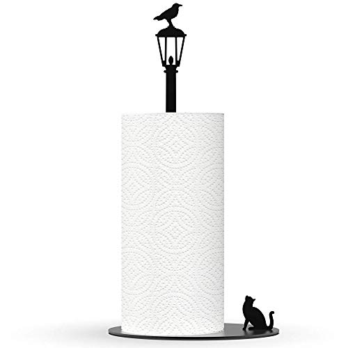 Kitchen Decor Cat Vs. Crow - Black Metal Paper Towel Dispenser & Countertop Kitchen Paper Towel Holder - Cat Lover Gifts For Women, Funny Cat