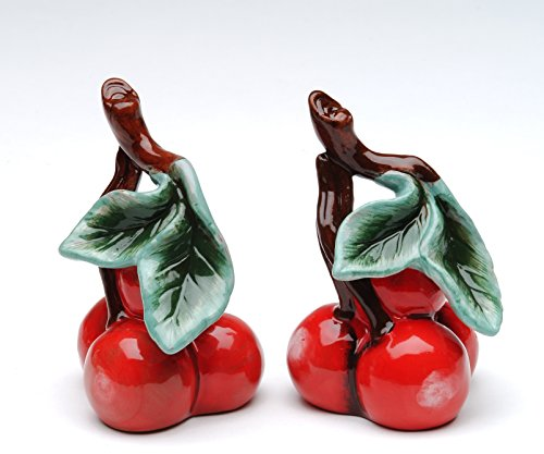 Cosmos Gifts 10183 Fine Ceramic Red Bing Cherry Salt and Pepper Shakers, 3-1/8